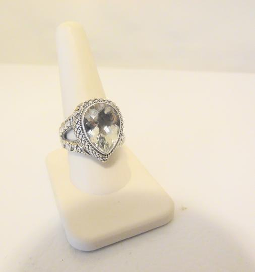 Other Bali Designs 8.07ct Pear-Cut White Topaz 2-Tone Ring Size 8 Image 3