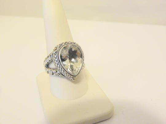 Other Bali Designs 8.07ct Pear-Cut White Topaz 2-Tone Ring Size 8 Image 6