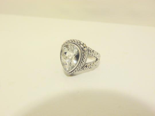 Other Bali Designs 8.07ct Pear-Cut White Topaz 2-Tone Ring Size 8 Image 8