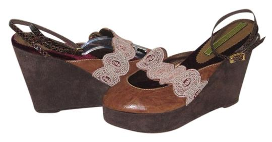 Cydney Mandel Handmade Embroidery Leather Unique Fall Brown Wedges