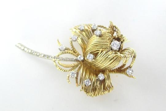 Other 18K SOLID YELLOW GOLD ROSE FLOWER PIN BROOCH PENDANT 27 DIAMONDS 1 CARAT JEWELRY