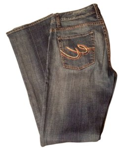 Express Embellished Distressed Boot Cut Jeans-Distressed