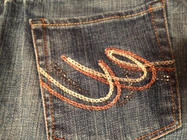 Express Embellished Distressed Boot Cut Jeans-Distressed Image 1