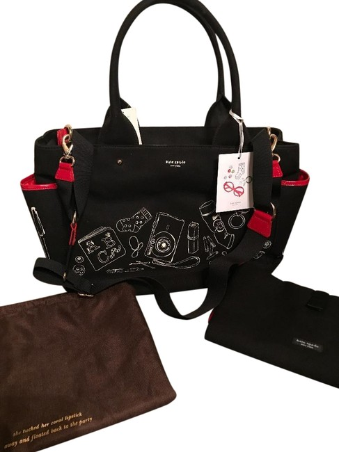 Item - Changing Pad Black with White Graphics Red Trim and Interior Canvas Diaper Bag