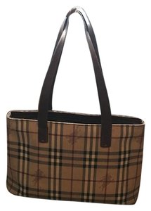 d2d9e3942906 Added to Shopping Bag. Burberry Shoulderbag Purse Checkered Tote in GUC  Brown. Burberry Haymarket Check Regent Handbag Guc Brown Leather ...