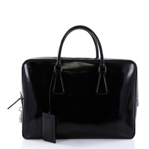 Prada Briefcase Leather Tote in Black