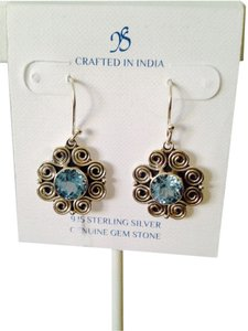 JS Collections NWT Faceted Blue Topaz 4.68cts In Flower Design Sterling Silver Earrings