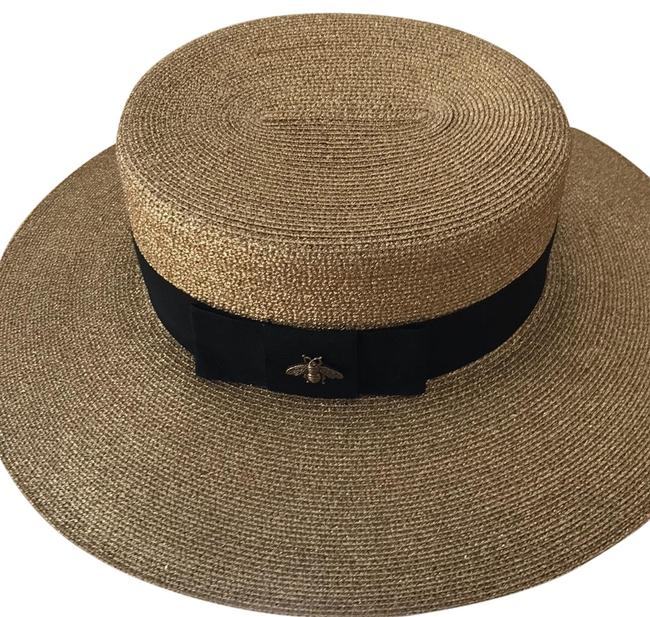 Item - Gold Straw with Black Band and Pink Lining 8075033894 Hat