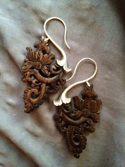 Opulent Antiquity Handmade Carved Sterling Silver Artisan Paisley Floral Wood Earrings