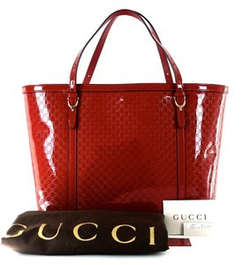 Gucci Patent Leather Gently Loved Retails No Longer Avail Tote in Dark Red Microguccissima