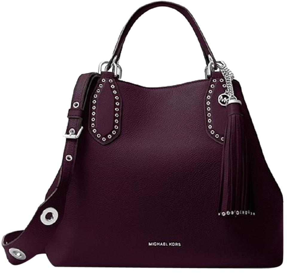 d8ca5657f5f5 Michael Kors Mk Brooklyn Leather Silver Hardware Tote in Damson Image 0 ...
