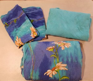 Blue 4 Piece Set Quilt Two Pillow Shams Fitted Sheet Size Full Other