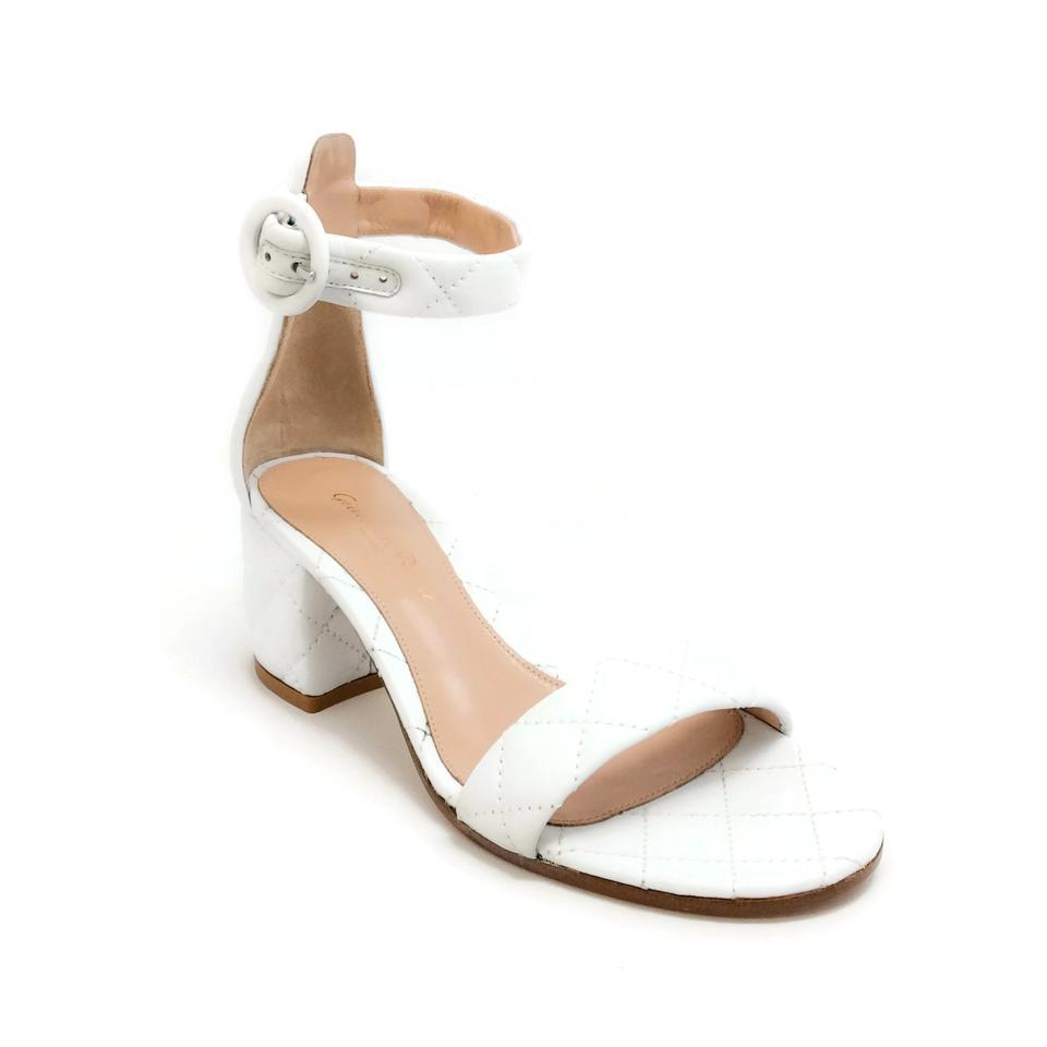 688aa4129 Gianvito Rossi White Versilia Driver Mid Quilted Sandals Size EU 40 ...