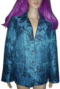 Dialogue Embroidered Leaves Jacket Gothic Blue Blazer