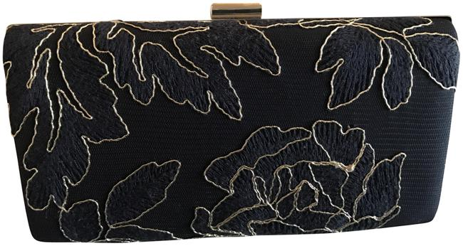 Item - Embroidered Navy/Gold Polyester Clutch