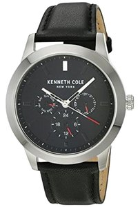 Kenneth Cole KC15102001 Men's Black Leather Band With Black Analog Dial Watch