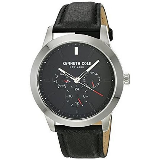 Kenneth Cole KC15102001 Men's Black Leather Band With Black Analog Dial Watch Image 1