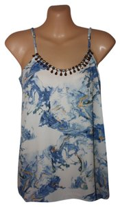 Bar III Cool Casual Sky Blue & Cream Halter Top