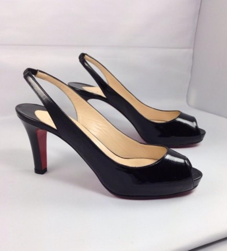 52afe6a9d05 Christian Louboutin Black Patent No Prive 85 Sling Backs Pumps Size ...
