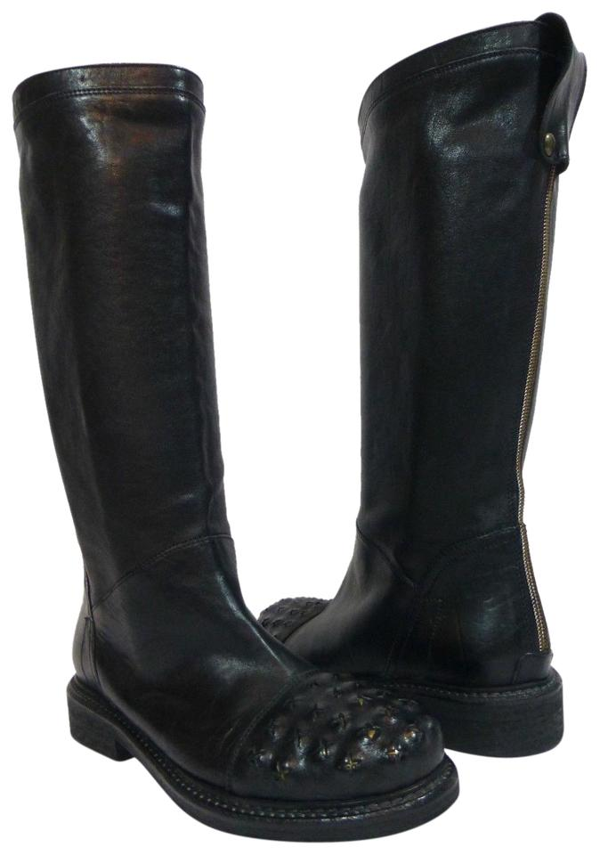 Latitude Black Black Latitude Studded Leather Riding Boots/Booties cf07d9