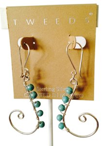 NWOT Turquoise Gemstone (Sleeping Beauty) In Sterling Silver Swirl Earrings
