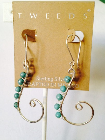 Other NWOT Turquoise Gemstone (Sleeping Beauty) In Sterling Silver Swirl Earrings