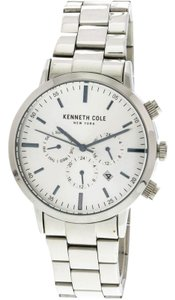 Kenneth Cole KC50228007 Men's Silver Steel Band With White Analog Dial Watch