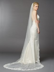 Ivory Long Beaded Lace Cathedral Bridal Veil