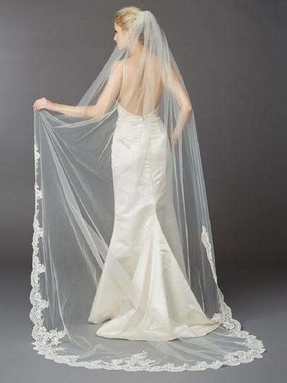 Ivory Long Beaded Lace Cathedral Bridal Veil Image 2