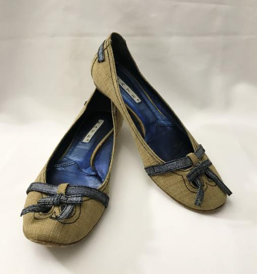 Kate by Ferrari Ballet Burlap Made In Italy Boutique Tan Flats Image 2
