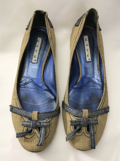 Kate by Ferrari Ballet Burlap Made In Italy Boutique Tan Flats Image 3