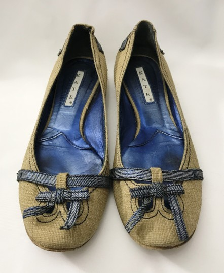 Kate by Ferrari Ballet Burlap Made In Italy Boutique Tan Flats Image 6