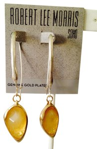 Robert Lee Morris NWOT Yellow Stone In Silver-Tone Dangle Earrings