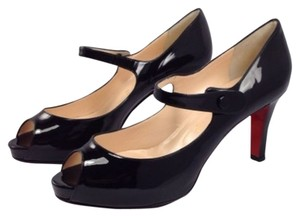 Christian Louboutin Mary Jane Low Heel Patent Leather Black Patent Pumps