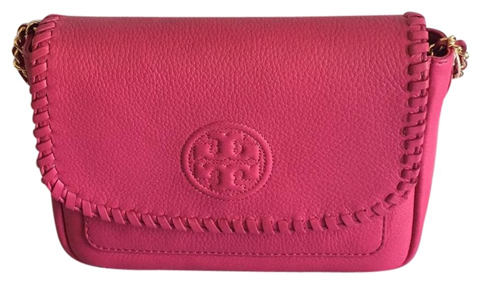 244a19d2d053 Tory Burch Marion Mini Shoulder Hibiscus Flower Pebble Leather Cross ...