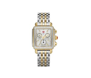 Michele NEW Deco Diamond Dial MOP Two Tone Gold MWW06P000108 Ladies Watch