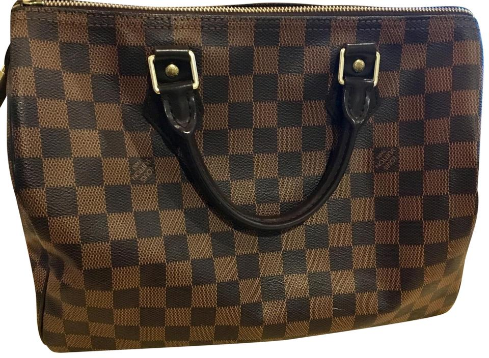 louis vuitton speedy brown dark brown red interior textile lining leather trimming canvas. Black Bedroom Furniture Sets. Home Design Ideas