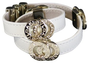 BVLGARI Bvlgari White Leather & Gold Wraparound Bracelet