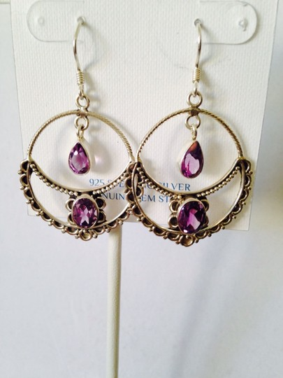 JS Collections NWOT Faceted Amethyst Gemstone In Sterling Silver Earrings
