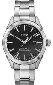 Timex TW2P77300 City Men's Silver Steel Band With Black Analog Dial Watch
