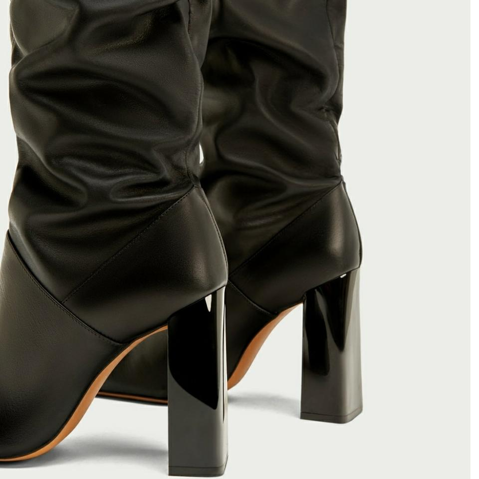 7cf4476bc26 Zara Black New with Tags Leather Over The Knee High Boots/Booties Size US 5  Regular (M, B)