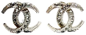 Chanel Paris Dubai Silver Crescent Moon Pierced Earrings with Rhinestones
