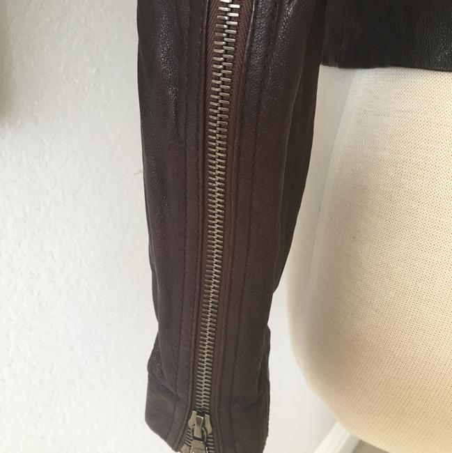 Ever Zippers Vintage Leather Motorcycle Jacket Image 4