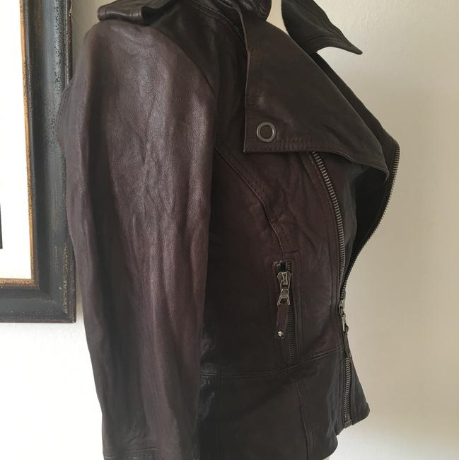 Ever Zippers Vintage Leather Motorcycle Jacket Image 5