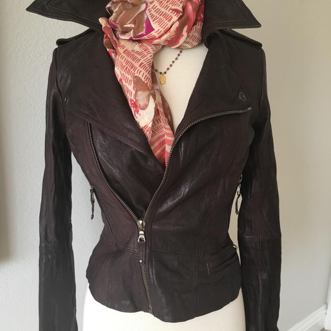 Ever Zippers Vintage Leather Motorcycle Jacket Image 6