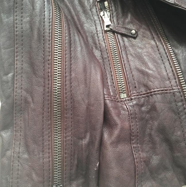 Ever Zippers Vintage Leather Motorcycle Jacket Image 8