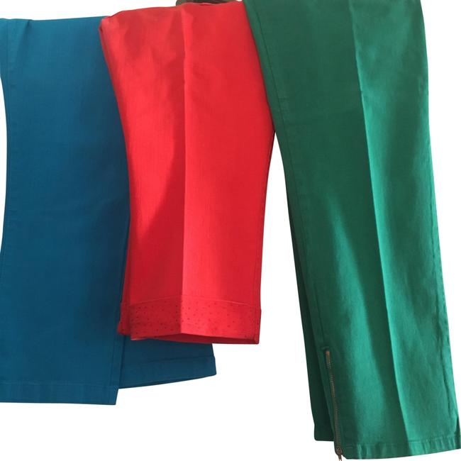Item - Three Pair Of - Blue Red & Green Medium Wash Bright Colored Jeans/Pants Straight Leg Jeans Size 35 (14, L)