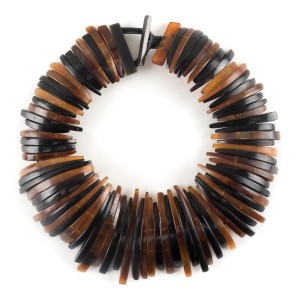 Monies Monies brown and tan deconstructed collar necklace