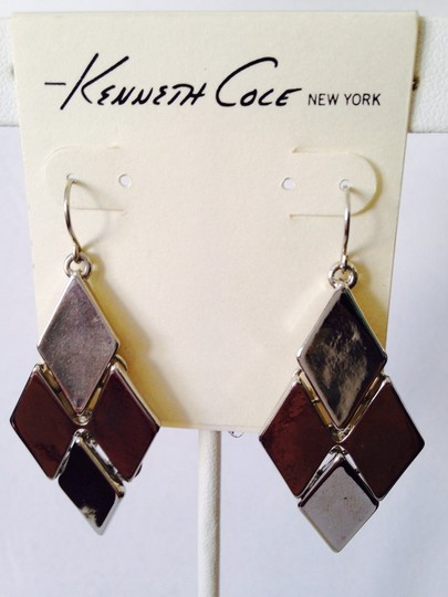 Kenneth Cole NWOT Diamond Silver-Tone Articulated Dangle Earrings