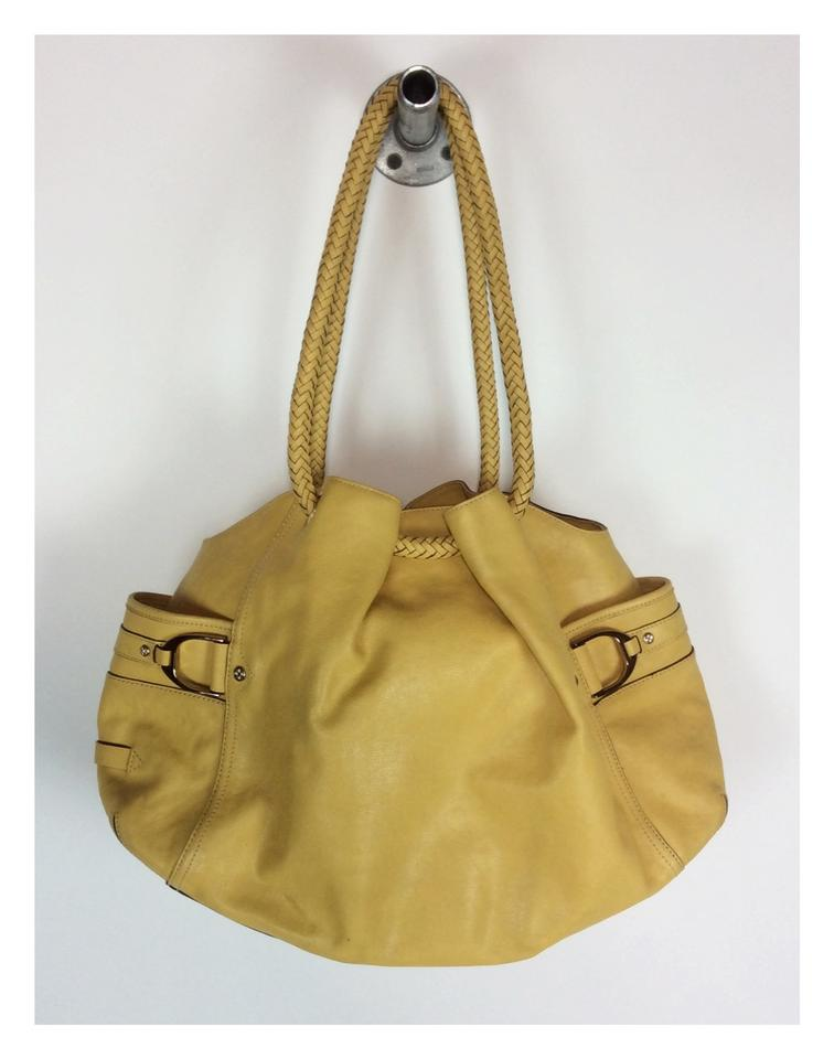 2f8a3b8eb4bb Cole Haan Woven Handle Mustard Yellow Leather Shoulder Bag - Tradesy